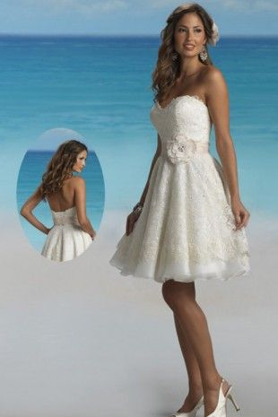 Sweetheart Neckline Lace Wedding Dress with a flower | Wedding ...