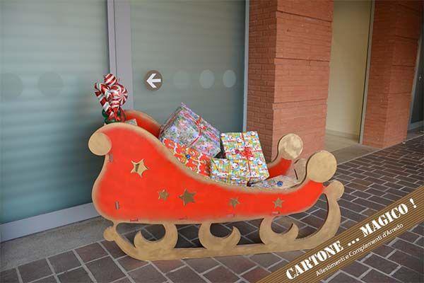 Slitta Di Babbo Natale Fai Da Te.Slitta Di Babbo Natale In Cartone Porta Doni Realizzata Per Un