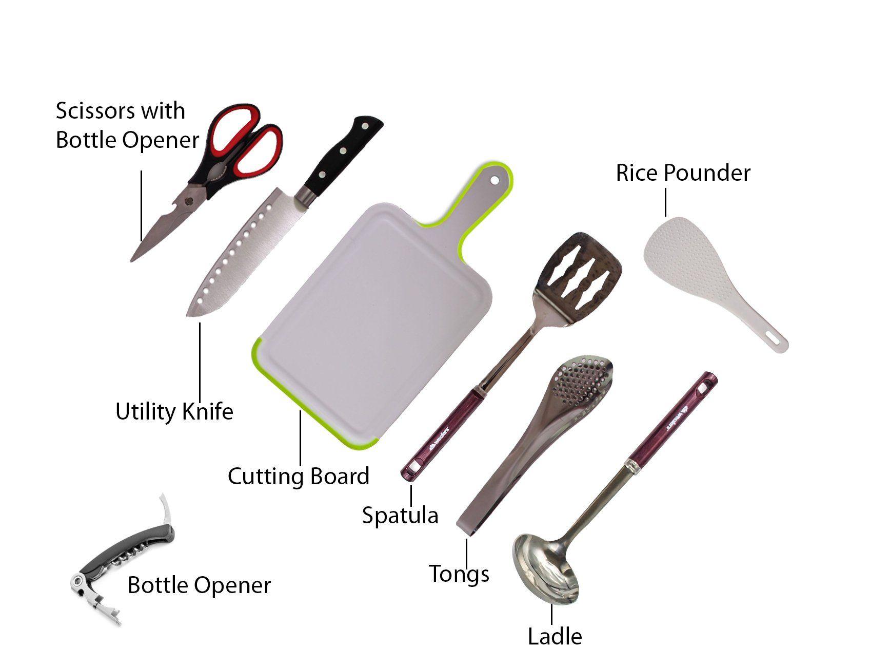 Wealers 7 Piece Outdoor Indoor Camping Bbq Cooking Utensils Set Kitchenware Cook