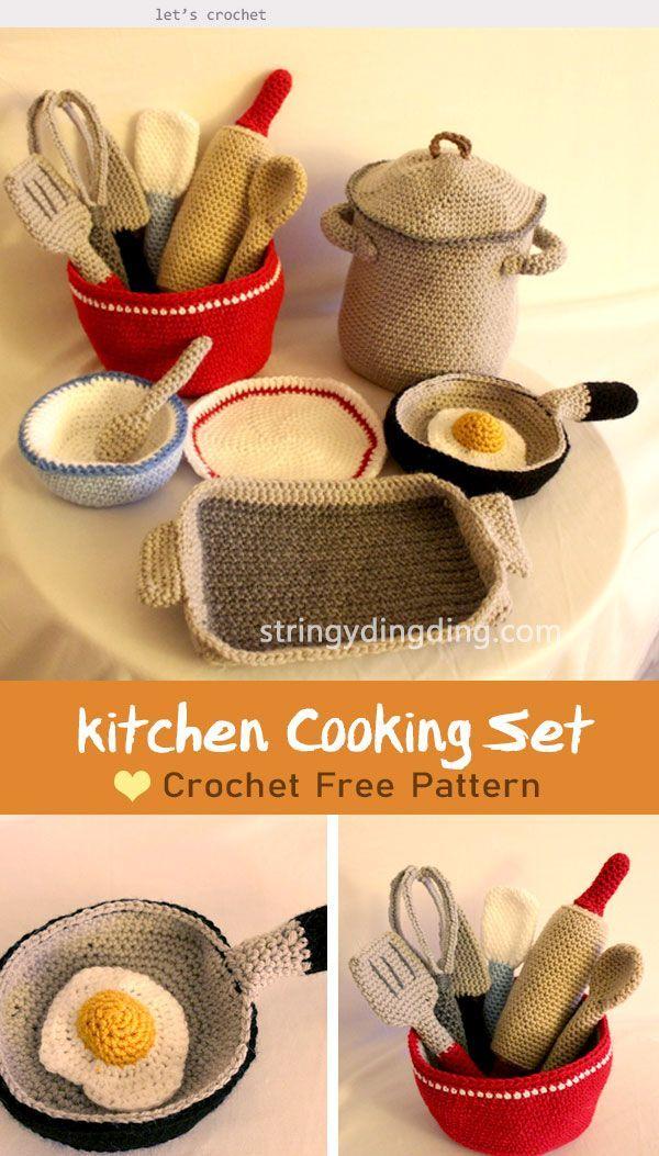 Kitchen Cooking Set Crochet Free Pattern #kitchen Kitchen Cooking Set Crochet Fr...