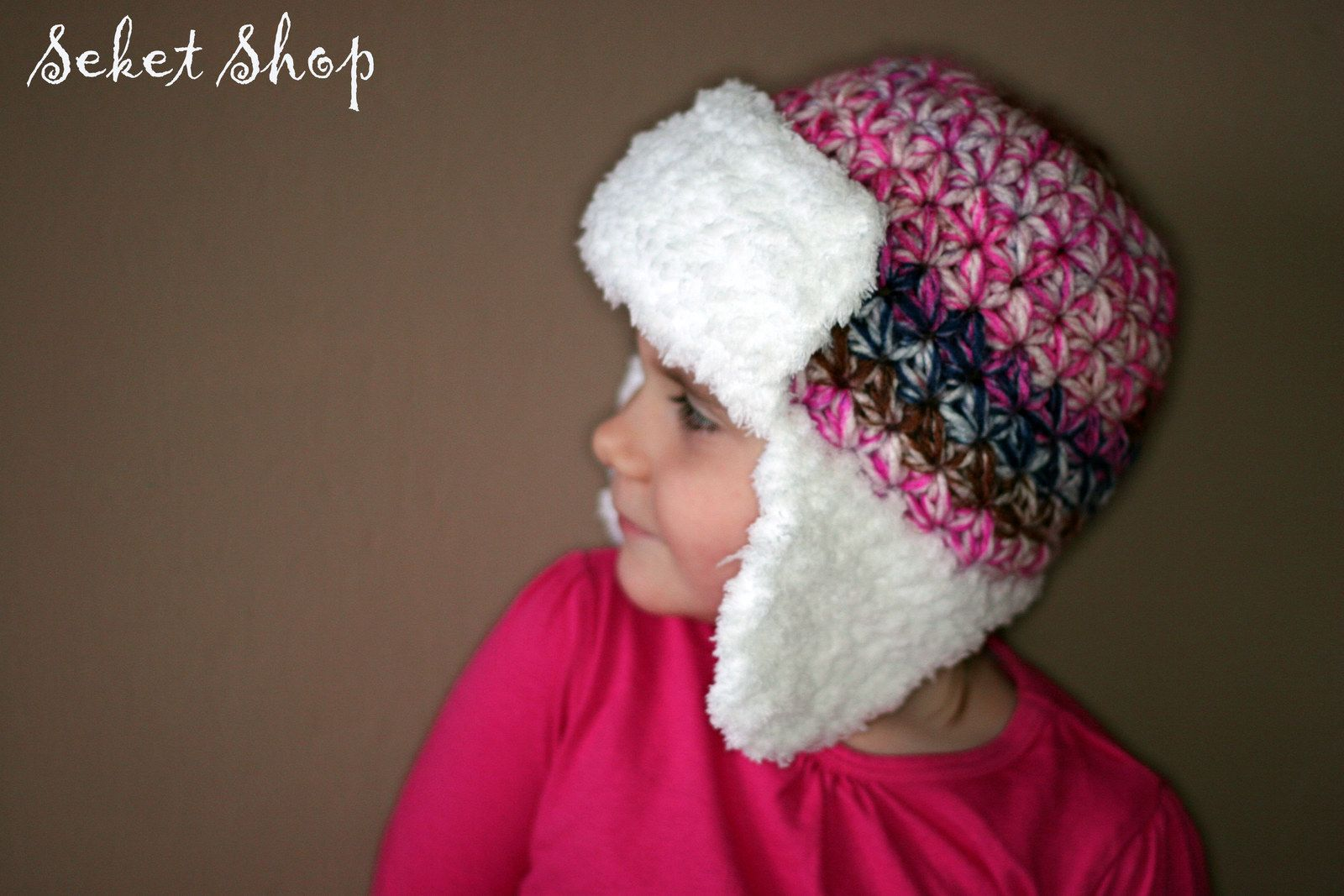 Crochet chunky beanie. Worming kids earflap cap with snowflake ornaments.