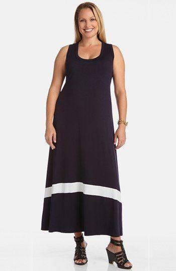 Karen Kane Colorblock Maxi Dress (Plus Size)   Nordstrom #Karen_Kane #Plus_Size_Fashion #Nordstrom