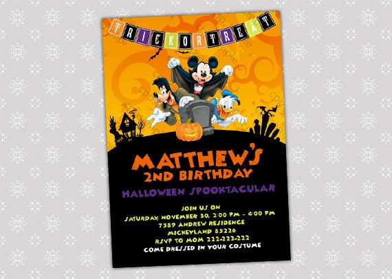 Mickey HALLOWEEN INVITATION, Halloween Card, Mickey Minnie Mouse Halloween Costume Birthday Party