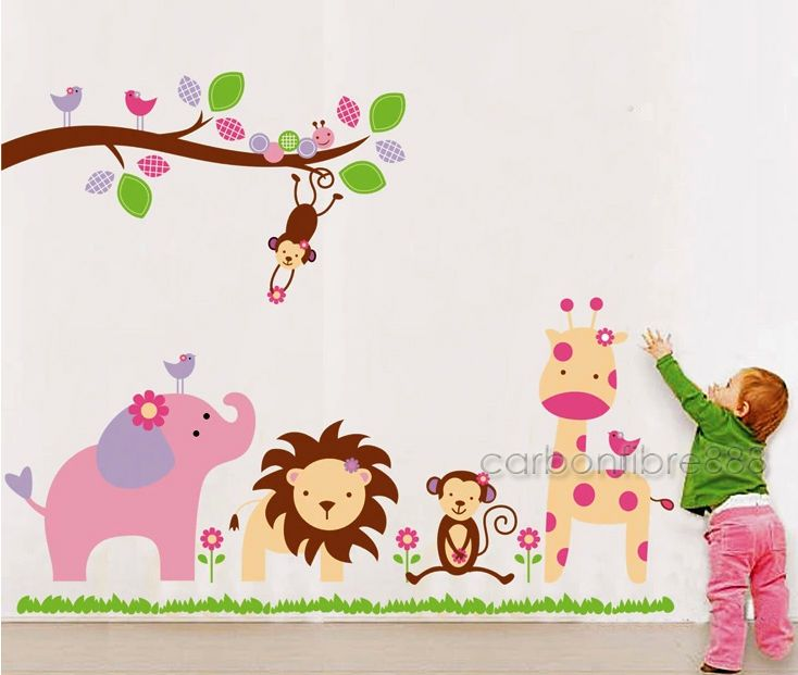 Attrayant HUGE Jungle Animal Zoo Wall Stickers Nursery Girls Childrens Bedroom Art  Decals