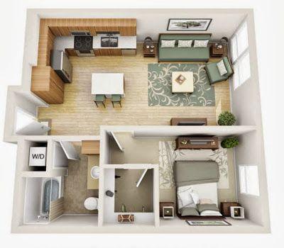 Departamentos peque os planos y dise o en 3d house for Muebles departamento pequeno