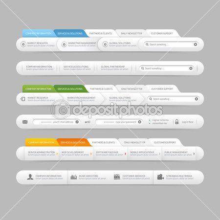 Web Site Design Menu Navigation Elements With Icons Set Navigation Menu Bars Web Design Quotes Website Design Web Design