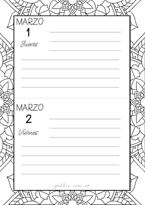 Calendario Agenda Marzo 2018 con Mandalas para colorear 2 dias por ...