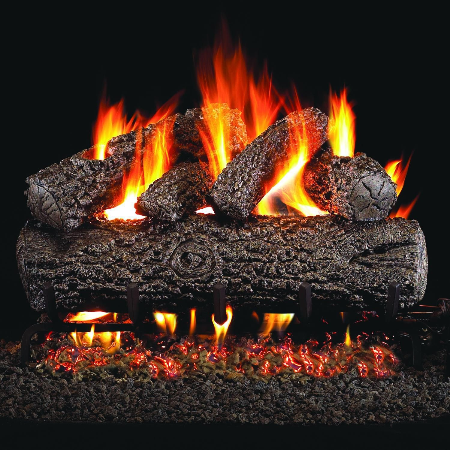 Peterson Real Fyre 24 Inch Post Oak Gas Log Set With Vented Natural Gas G45 Burner Manual Safety Pilot W Wireless On Off Wall Switch Gas Logs Fireplace Inserts Electric Logs