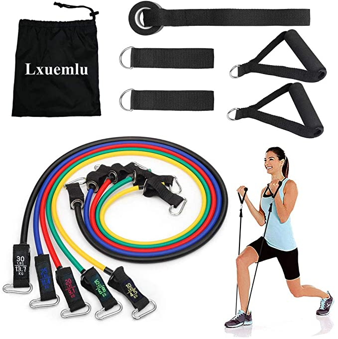 Leg Ankles Strap for Home Workout Bands for Women Waterproof Bag Exercise Bands for Working Out Set of 5 Resistance Bands Set Door Anchor Resistance Bands with Handles