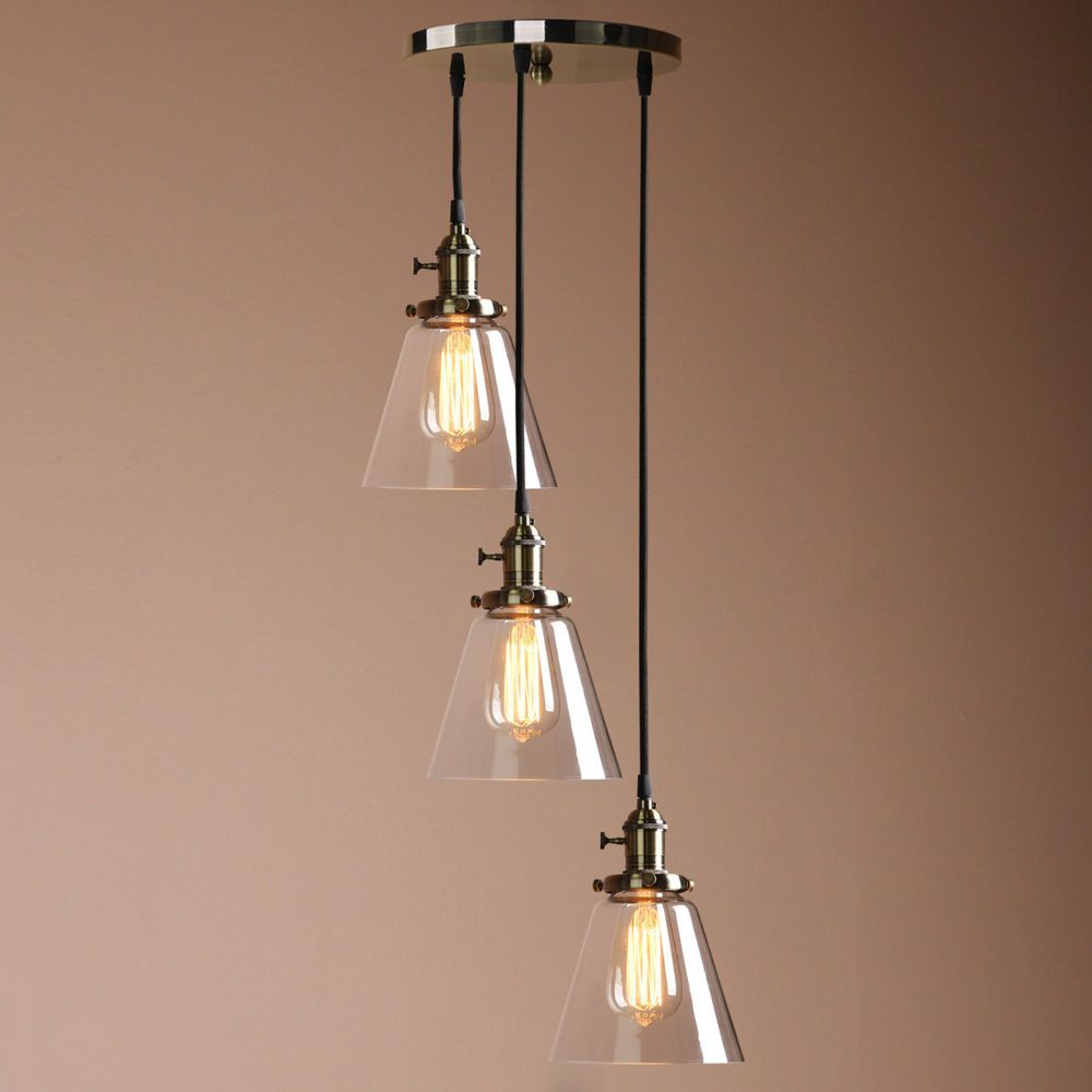 Edison Cluster 1 3 Pendant Lamp Bronze Antique Ceiling Light Clear Glass Shade Living Room Lighting Antique Ceiling Lights Ceiling Lights
