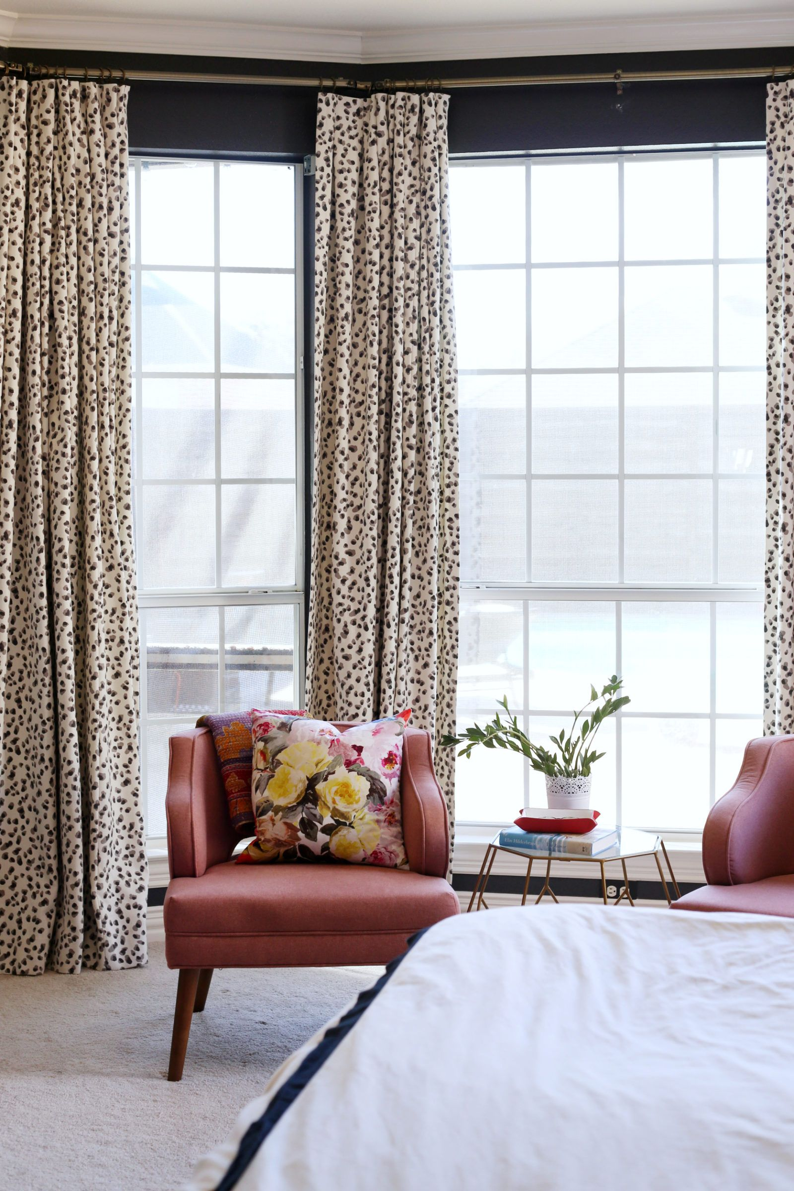 Master bedroom inspiration  Master bedroom inspiration complete with colorful textiles and mid