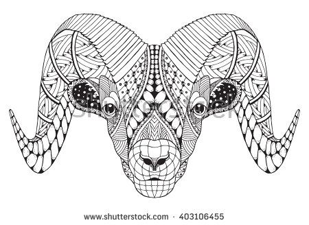 5ca9a490c Male rocky mountain bighorn sheep ram head zentangle stylized, vector  illustration, freehand pencil, hand drawn, pattern. Zodiac sign aries.