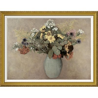 Global Gallery 'Flower Still Life #2' by Odilon Redon Framed Painting Print Size: