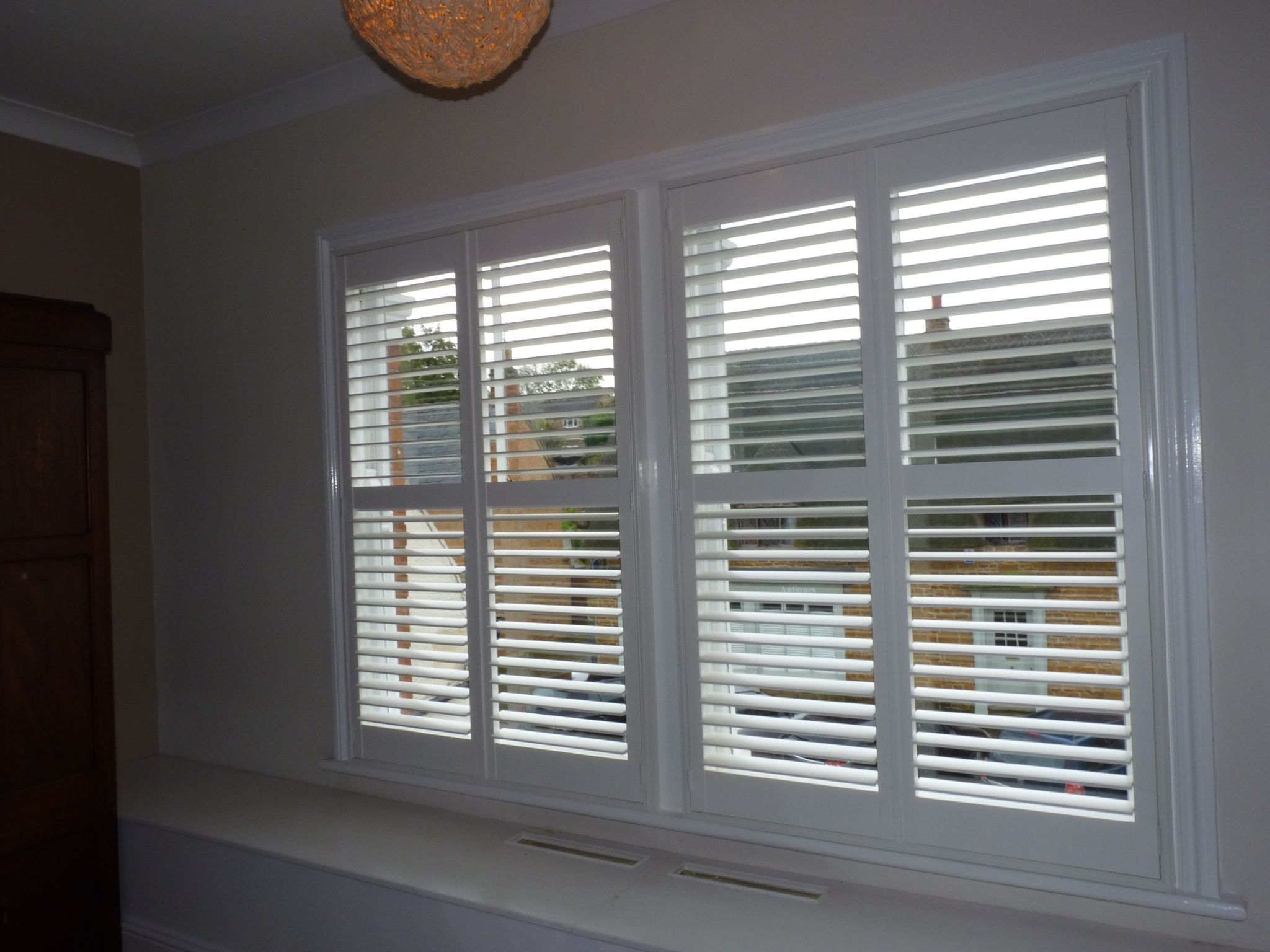 Double Sash Window With Mid Rail Full Height Shutters