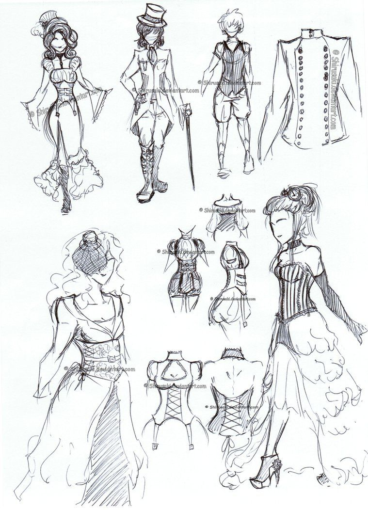 How To Draw Anime Outfits Steampunk Clothes By Shirusaki