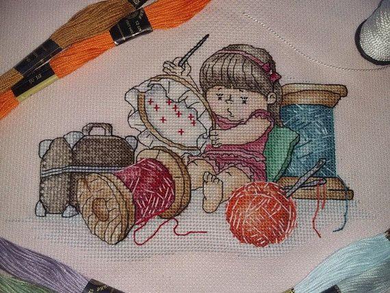 Girl Cross Stitch Pattern Pdf Instant Download Needlework Cross Stitch Cute Cross Stitch Thread Cros Punto De Cruz Bordado Puntos