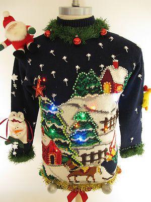 REALLY RIDICULOUS light up SUPER UGLY CHRISTMAS SWEATER men s S Women s M  WINNER on eBay! 1878fdd42f