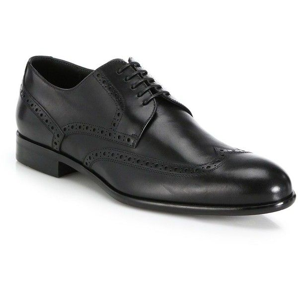 HUGO BOSS Calf Leather Brogue Shoes ($400) ❤ liked on Polyvore featuring men's fashion, men's shoes, men's oxfords, apparel & accessories, black, mens brogue shoes, mens leather sole shoes, mens lace up shoes and mens black shoes