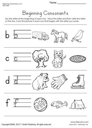 Snapshot image of one page from Beginning Consonants Worksheet Set ...
