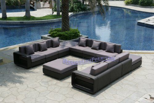 Modern Furniture All Weather Collection Grey U Shape Sectional
