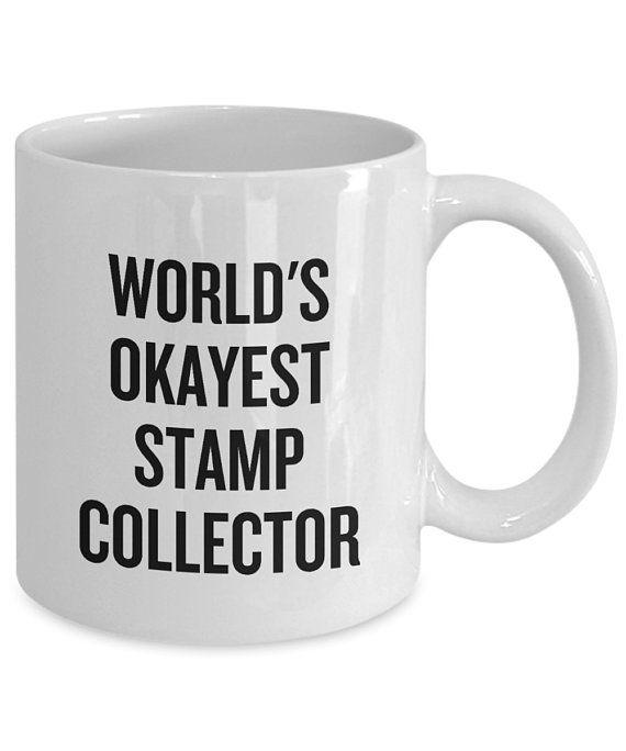 Postage Stamp Collector Gift - Stamp Collecting Mug - Philatelist Present - World's Okayest Stamp Co