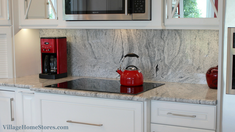 "Kitchen Backsplash Height full height ""silver cloud"" granite backsplash in a remodeled"