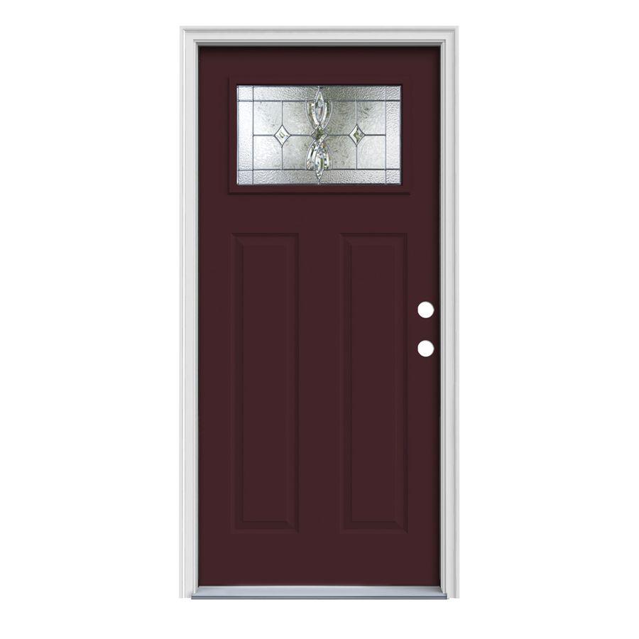 Jeld Wen Laurel Craftsman Decorative Glass Left Hand Inswing Currant Painted Steel Prehung Entry Door With Insulating Co Entry Doors Steel Entry Doors Jeld Wen