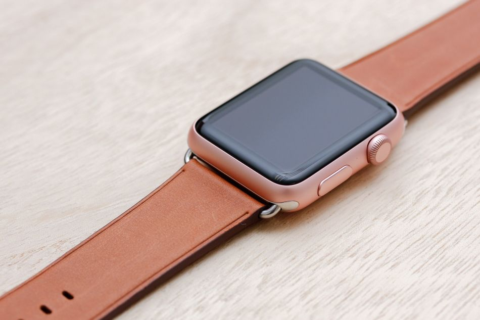 97ba48561 Apple Watch Sport Rose Gold Case with Saddle Brown Classic Band ...