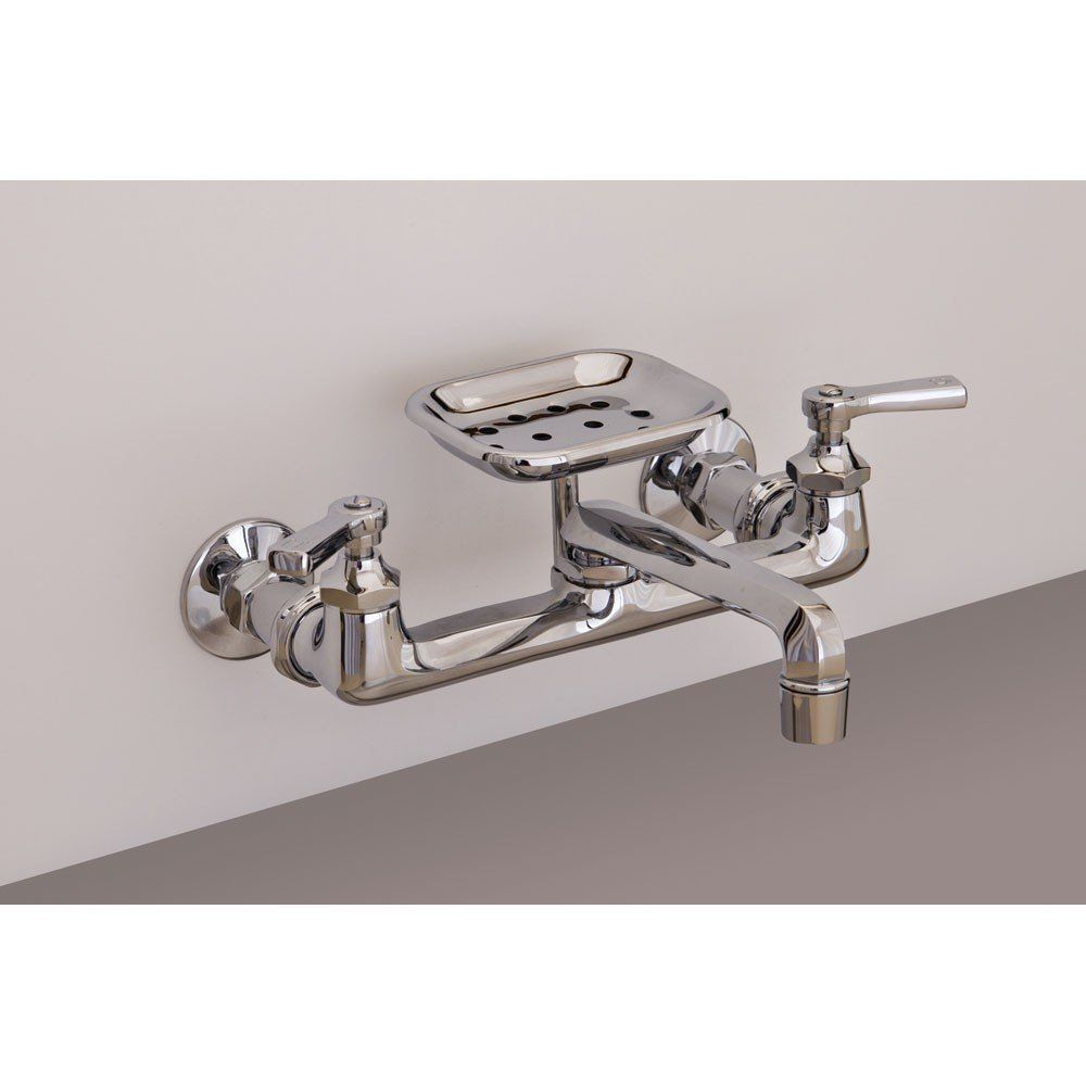 Strom Plumbing Wall Mount Kitchen Faucet with Swivel Spout and Soap ...