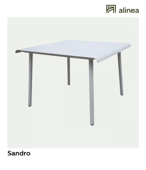 Sandro Table de jardin blanche en aluminium (2 places)