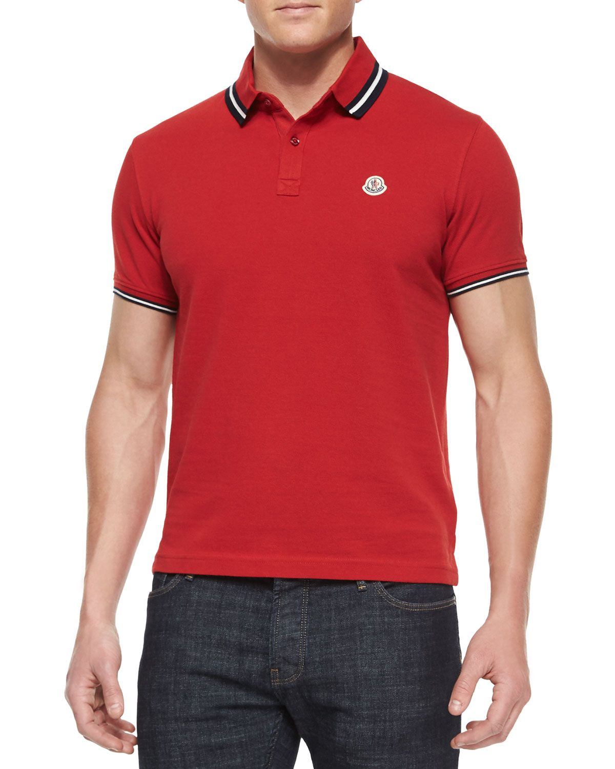 a75e01879 Short-Sleeve Tape-Tipped Polo Shirt Red | *Clothing > Shirts & Tops ...