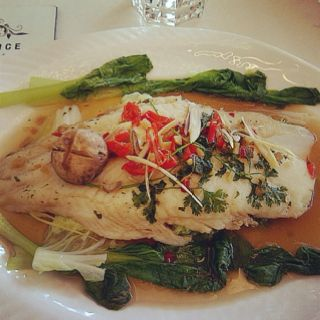 Steamed boneless fish ala Thai. A liitle bit spicy but very delicious and healthy.oil free, served with bokchoy, celery, chop garlic and mushroom.