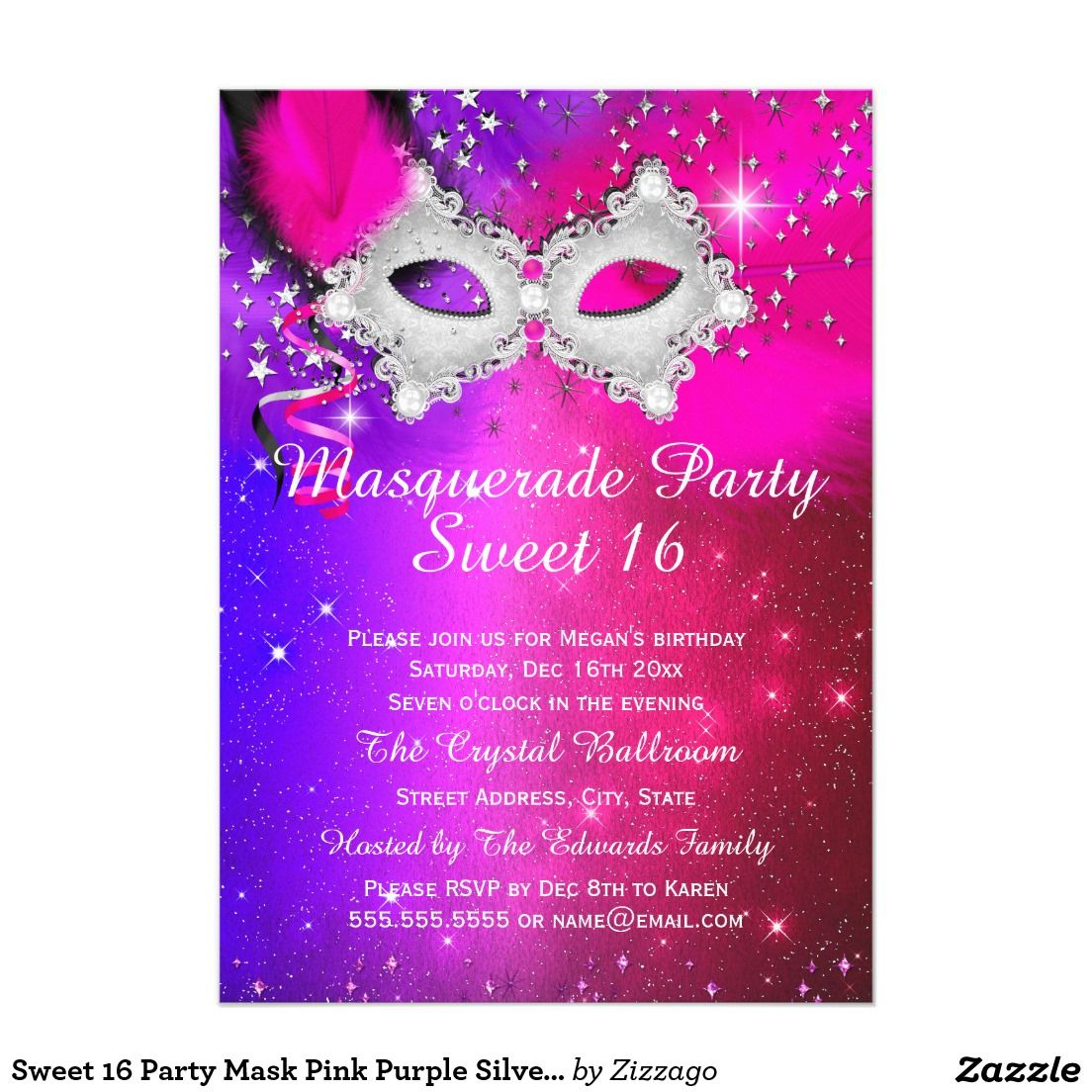Sweet 16 Party Mask Pink Purple Silver Masquerade Invitation