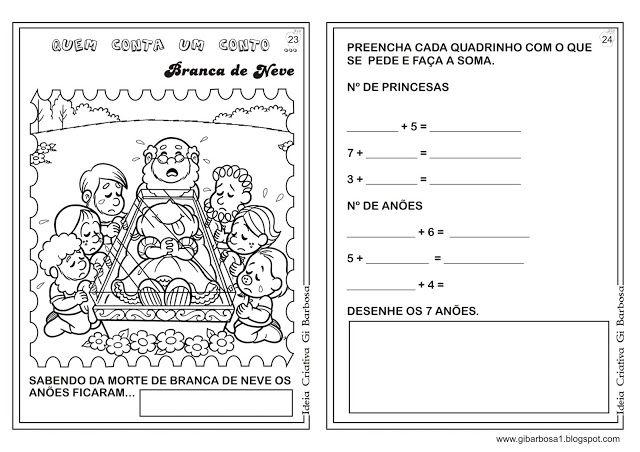 Caderno De Atividades Branca De Neve Projeto Contos De Fada