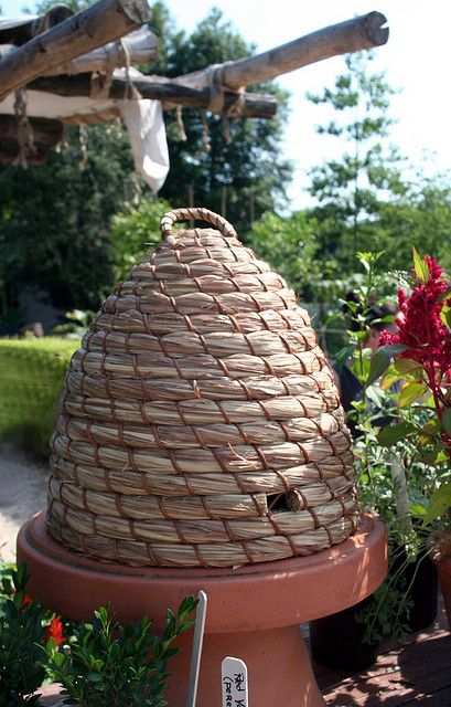 Bee Skep with clay planter on the bottom.  Good for side yard
