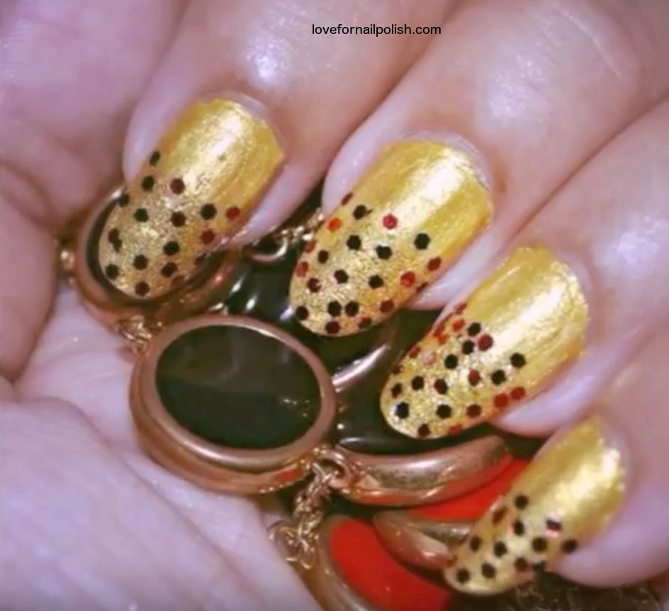 Red Gold Nail Design ~ With Glitter and Nail Polish | Step By Step ...