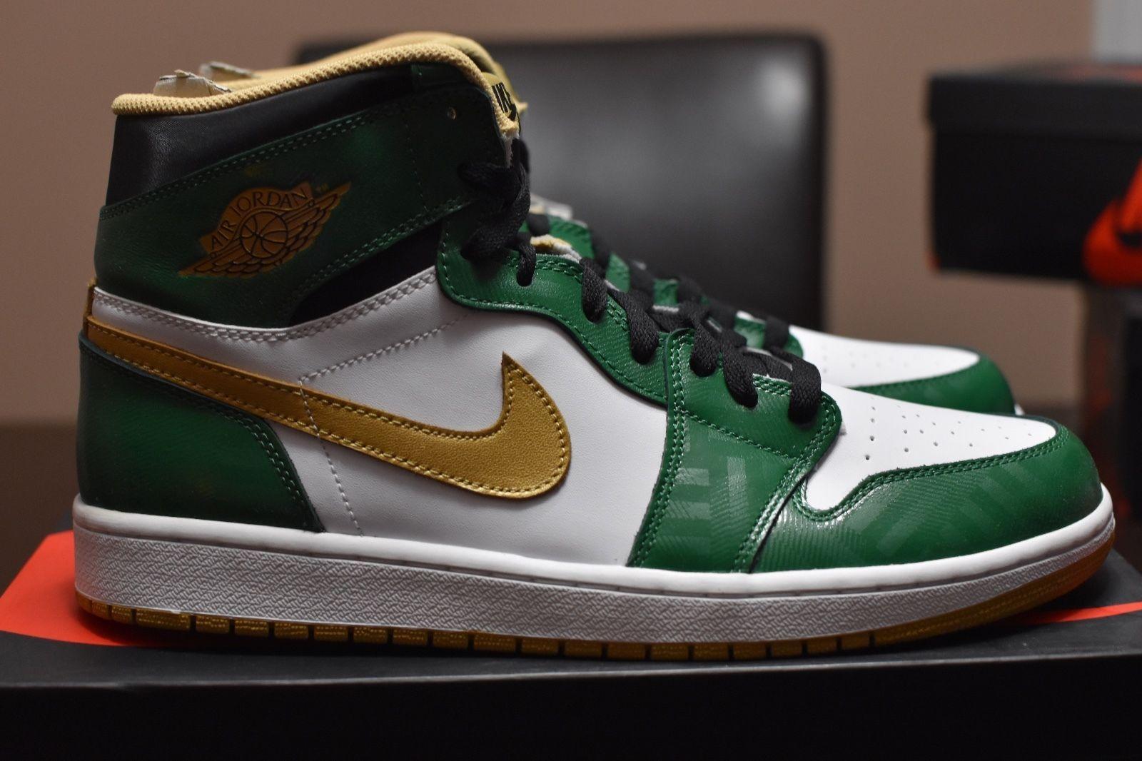 Nice Looking Nike Air Jordan I 1 Retro Herren Schuhe High Weiß Grün Gold MhzCbRYJ