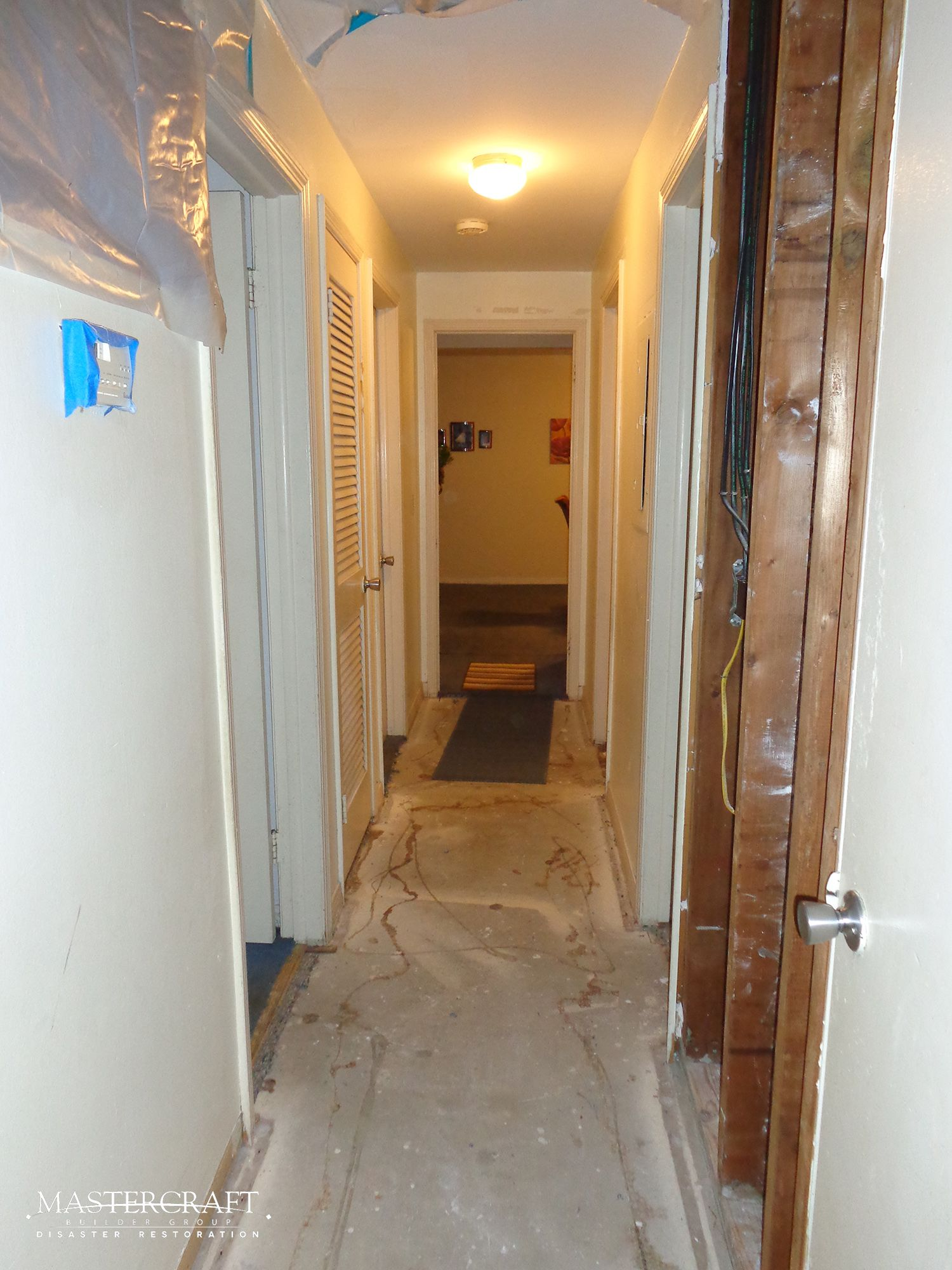 The Hallway Before Reconstruction The Hot Water Heater In The Attic Above The Hallway Burst Causing Waterdamage M Hot Water Heater Water Damage Water Heater