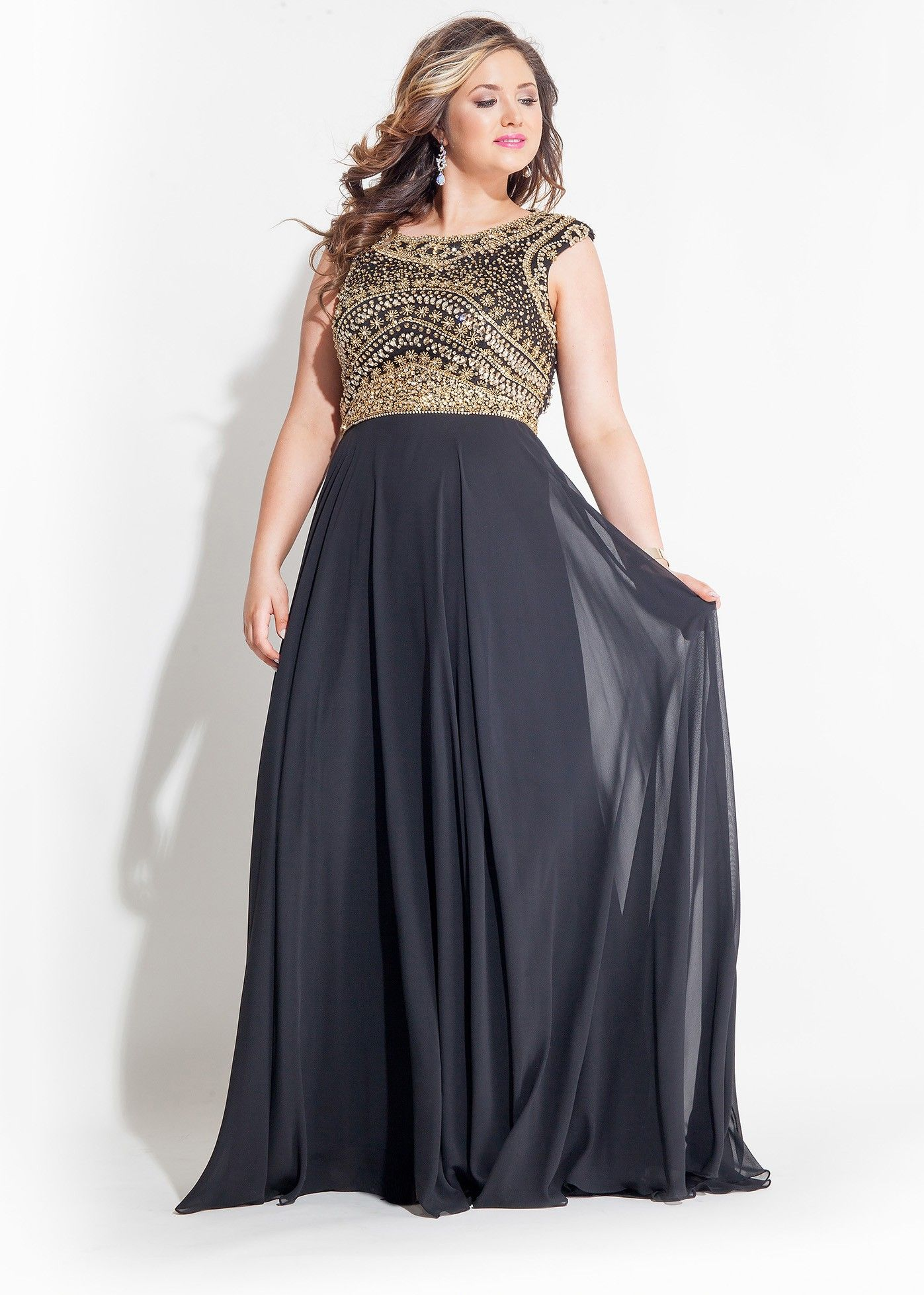 Rachel Allan 7413 Black Backless Beade Plus Size Prom Gown | Plus ...