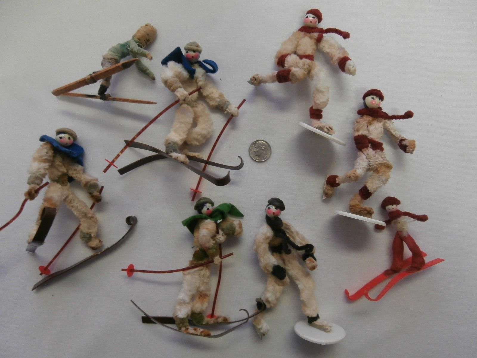 "LOT OF VINTAGE 4"" CHRISTMAS CHENILLE SKIERS & SKATERS CELLULOID SKIS BEAD HEADS  in Collectibles, Holiday & Seasonal, Christmas: Vintage (Pre-1946), Figures, Other Vint. Christmas Figures 