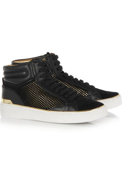 Rubber sole measures approximately 25mm/ 1 inch Black suede, black and gold leather Lace-up front