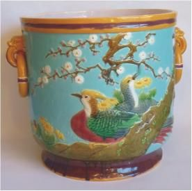Minton Majolica Rare Asiatic Pheasants Jardiniere    Impressed Marks    Good condition    Date cypher for 1876 (other side)