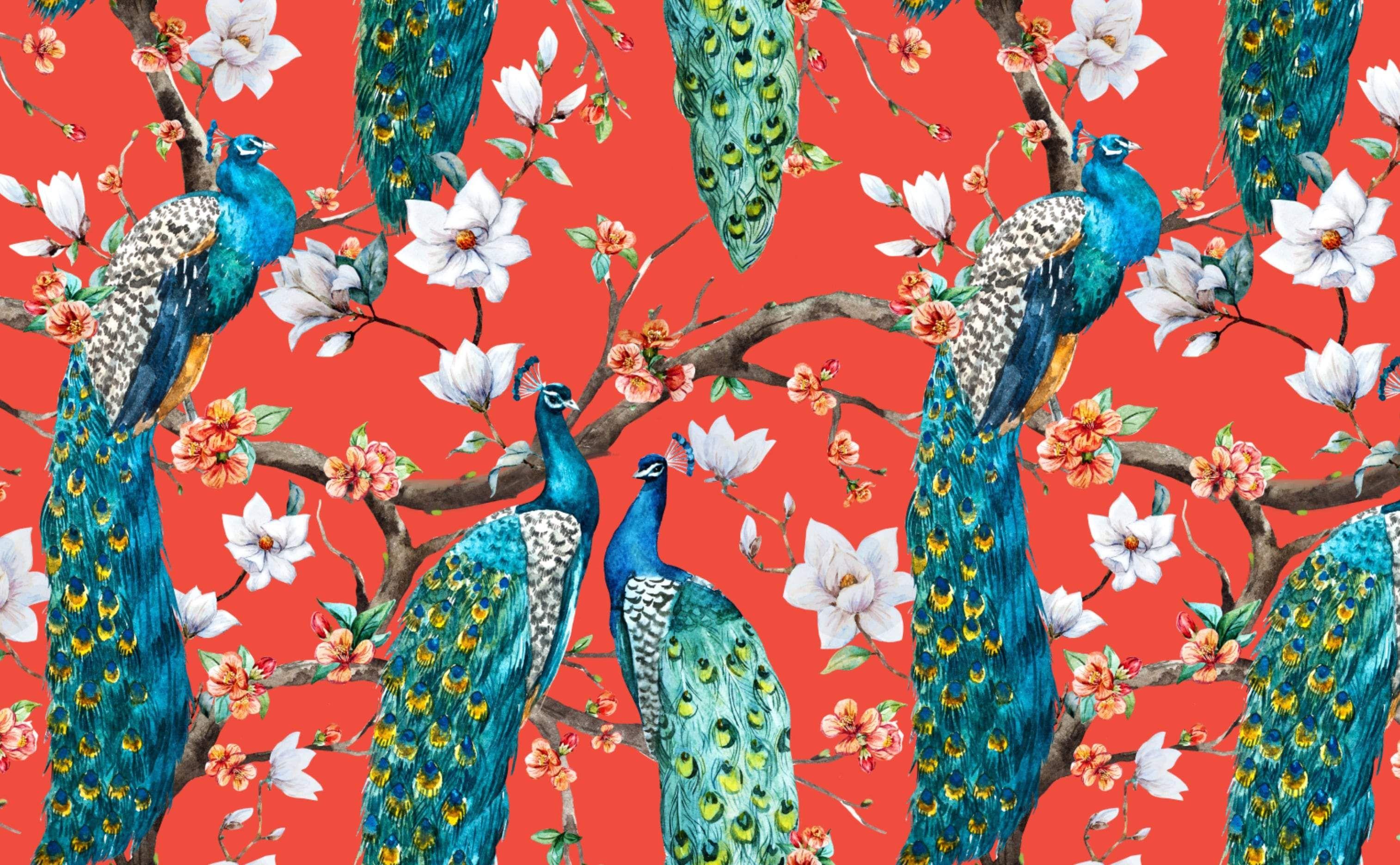 Victorian Peacocks On Red In 2020 Wall Wallpaper Wallpaper Flower Wallpaper