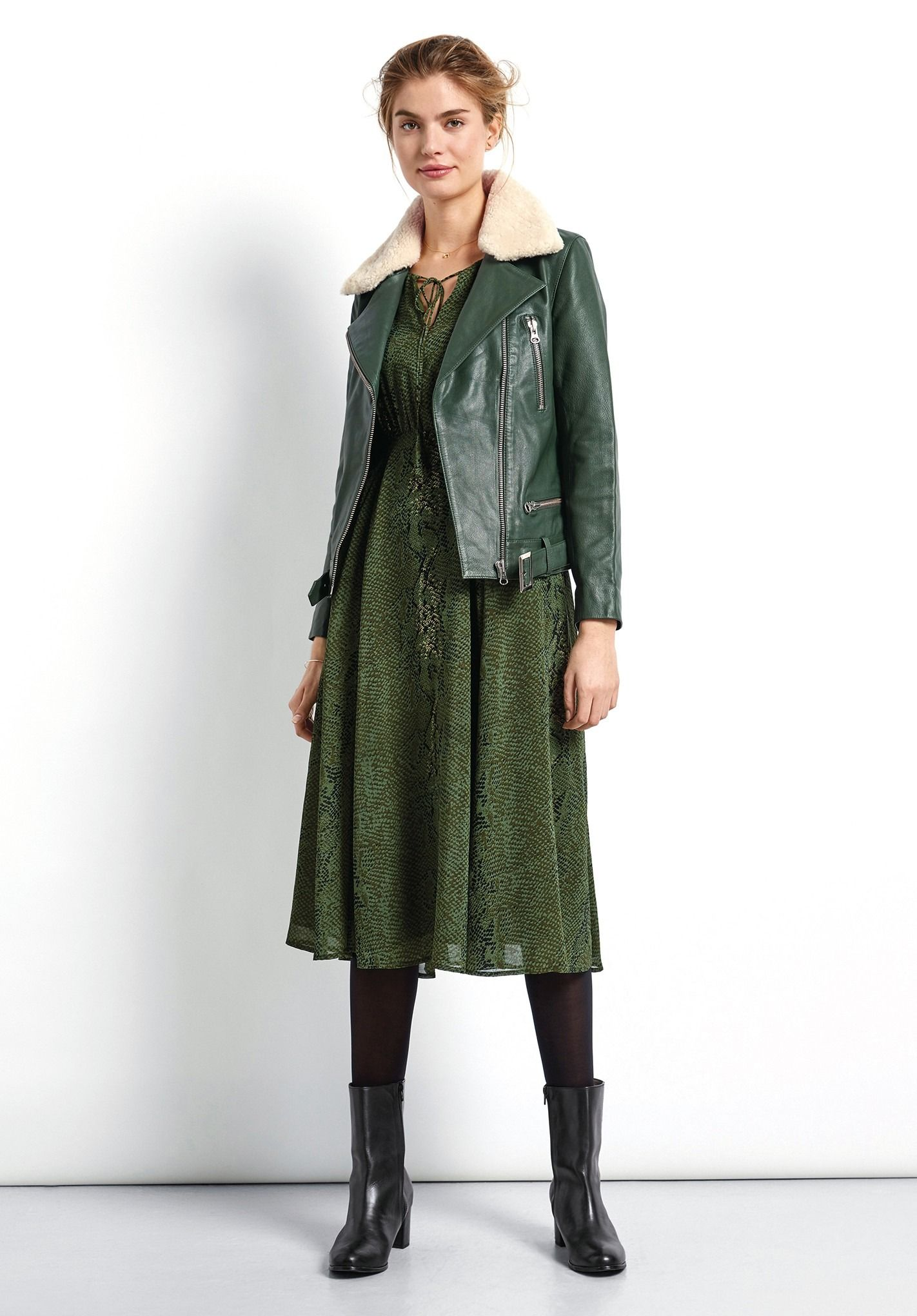 A musthave for winter, this cool forest green leather