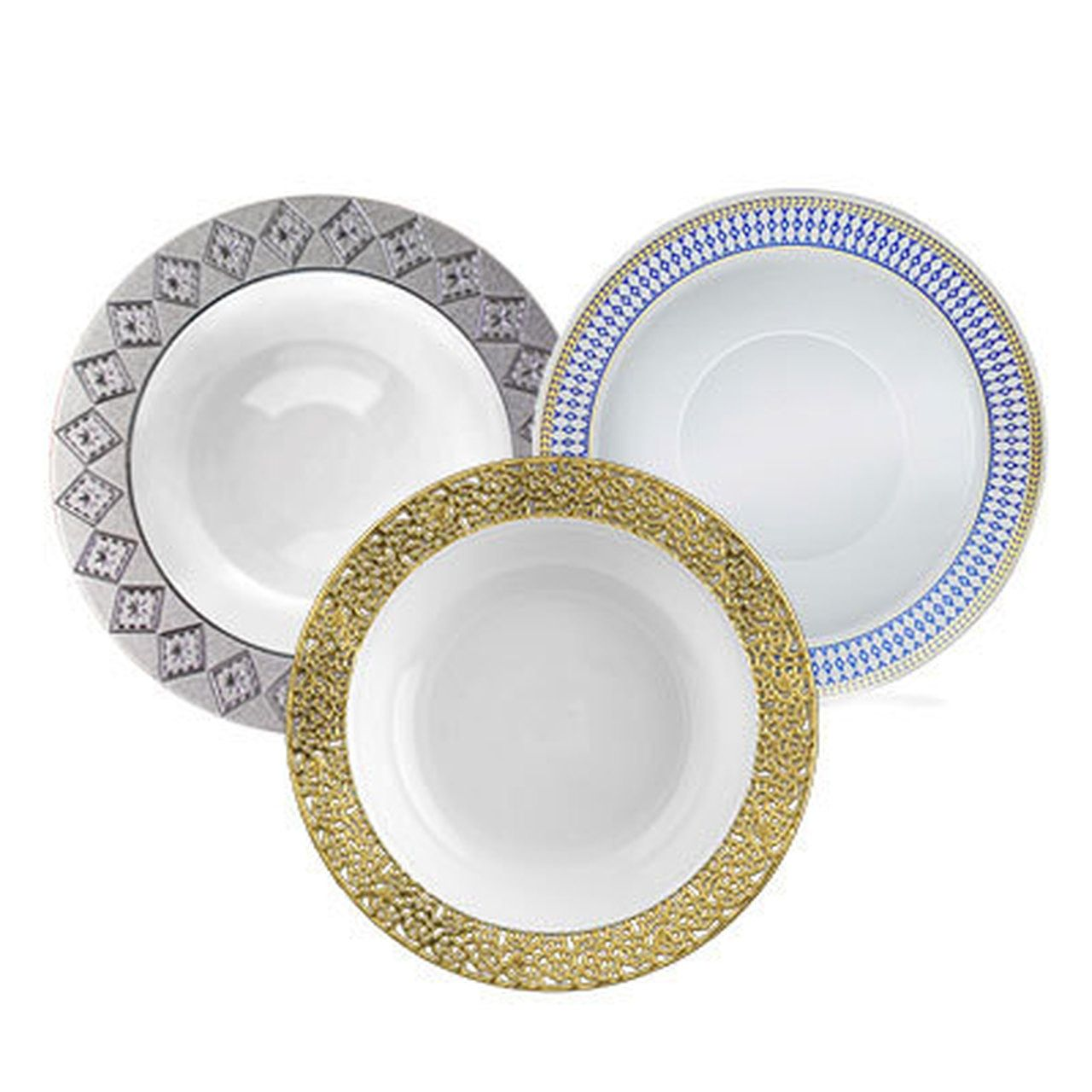 White With Blue Rim Aristocrat Plastic Tableware Package With Images Fancy Plastic Plates Plastic Party Plates Disposable Wedding Tableware