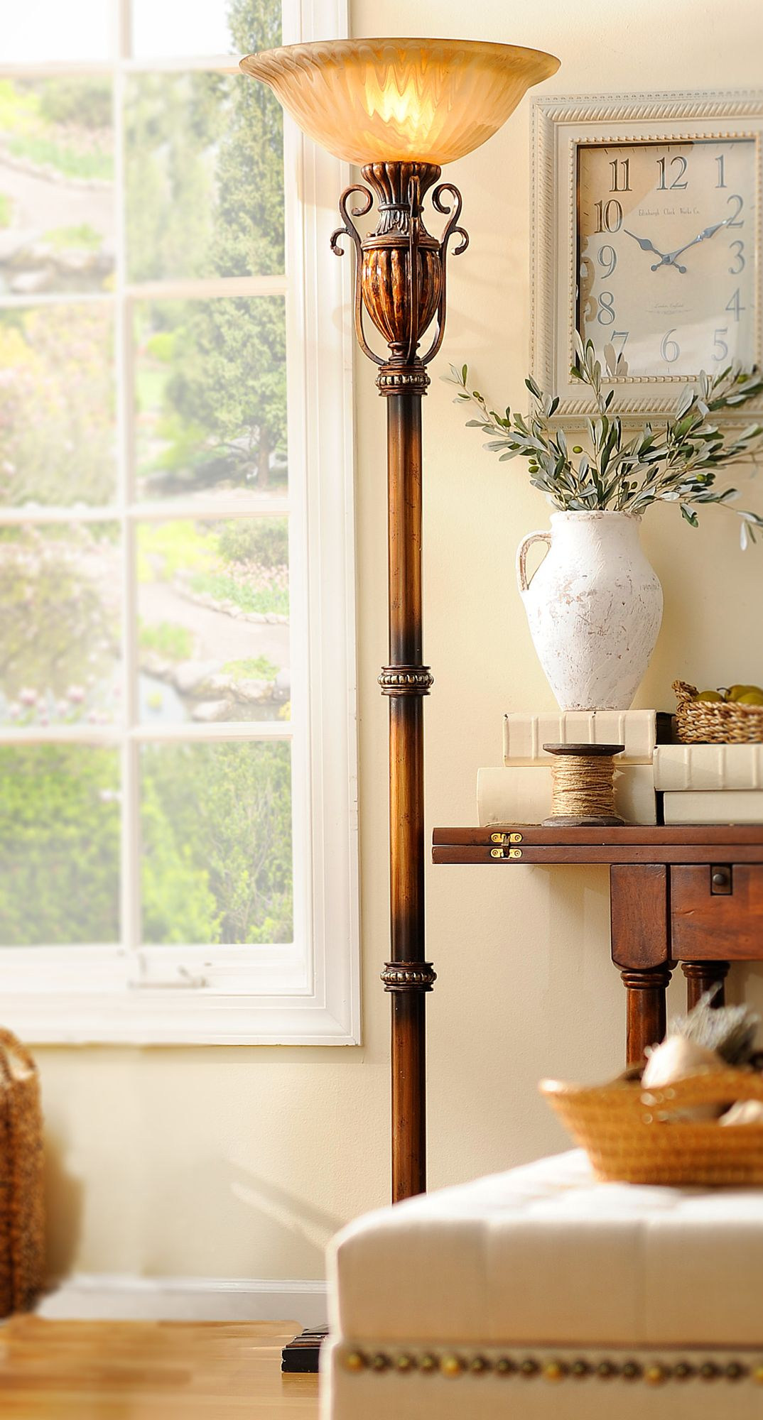 Color Infusion Torchiere Floor Lamp With Shelves Decor