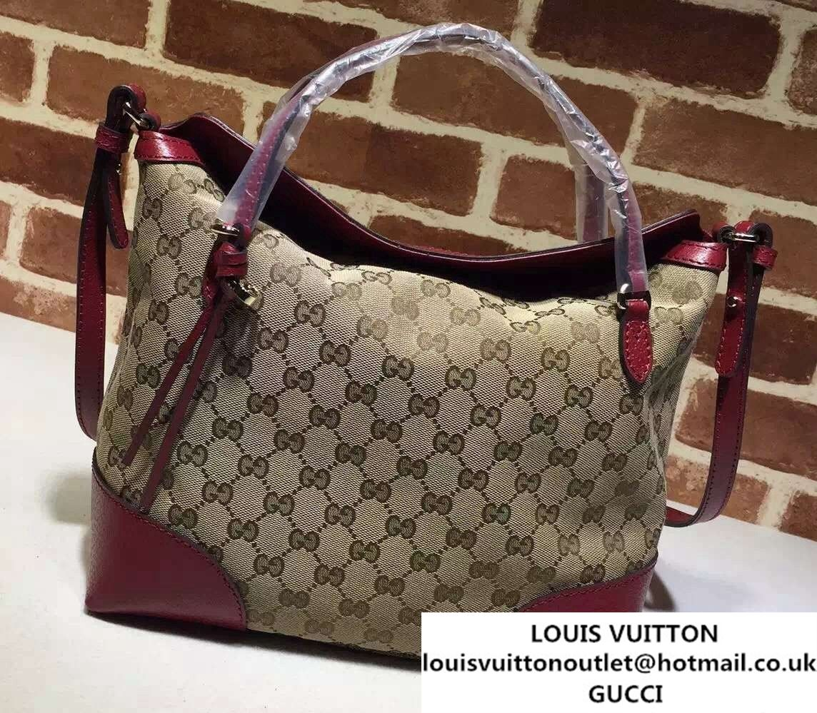 a526bd03cf529d Gucci Bree Original GG Canvas Top Handle Medium Bag 353120 Burgundy ...