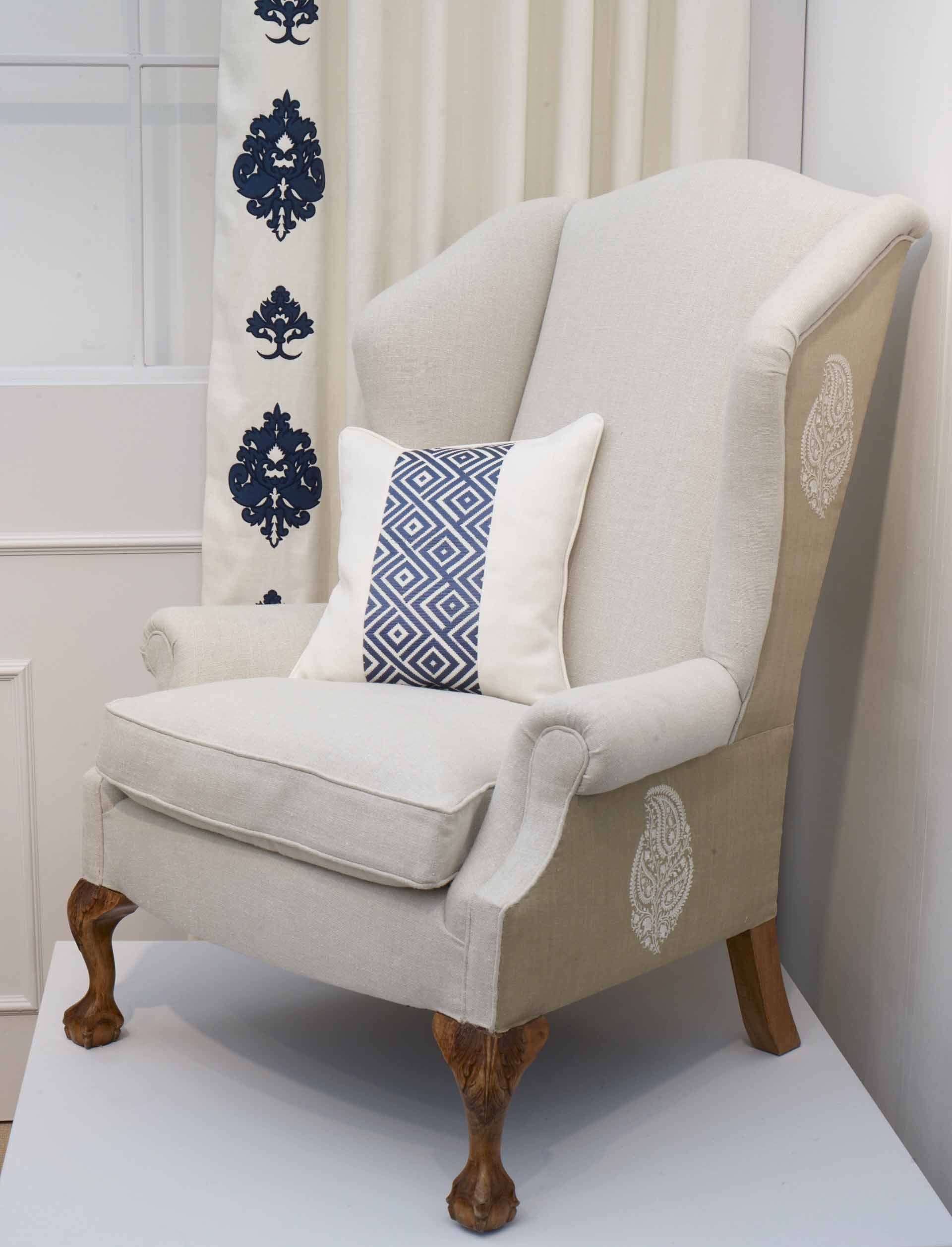 Best Tangor Paisley Upholstered Chair With Boutala Cobalt Blue 400 x 300
