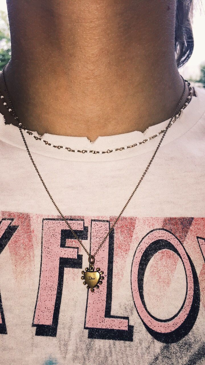 🚀 dior necklace with vintage pink floyd t-shirt 🚀    Dior necklace pink floyd band tee vintage chanel gucci retro instagram hipster