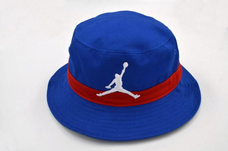 6f6b7e07edaf66 Mens Air Jordan 2016 Fashion Trend The White Jumpman Embroidered Logo Retro  Air Striped Fishing Bucket Hat - Blue   Red